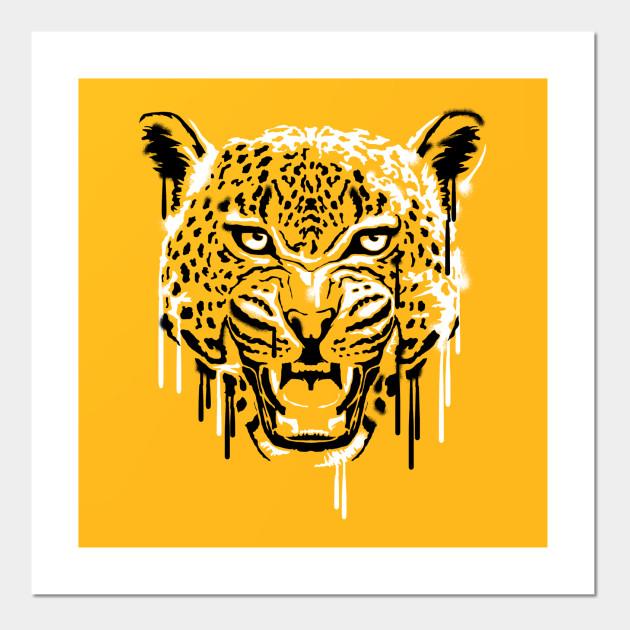 Wild jaguar Stencil Art - Wild Animals - Wall Art   TeePublic