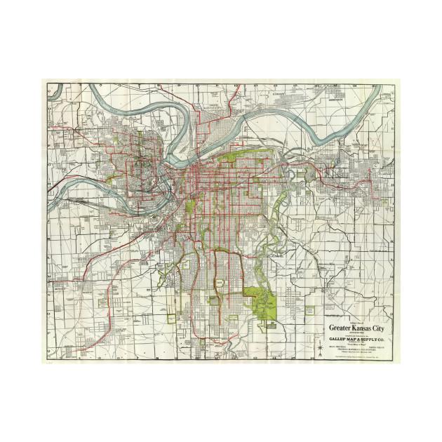 Vintage Map of Kansas City Missouri (1920) - Kansas City Map - T ...