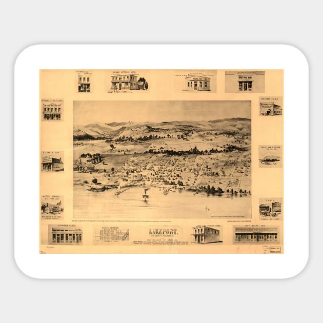 Vintage Pictorial Map Of Lakeport Ca 1888 Lakeport Ca Sticker
