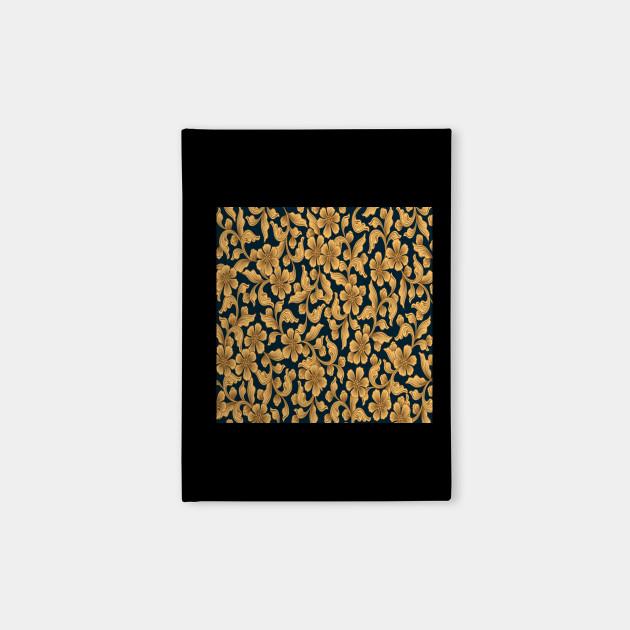 Golden ornamental floral wallpaper