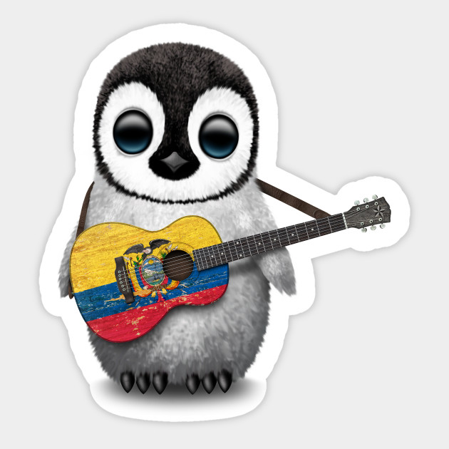 Baby Penguin Playing Ecuadorian Flag Guitar