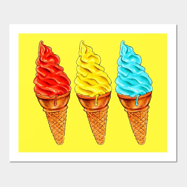 RYB Soft Serve - Ice Cream - Wall Art   TeePublic