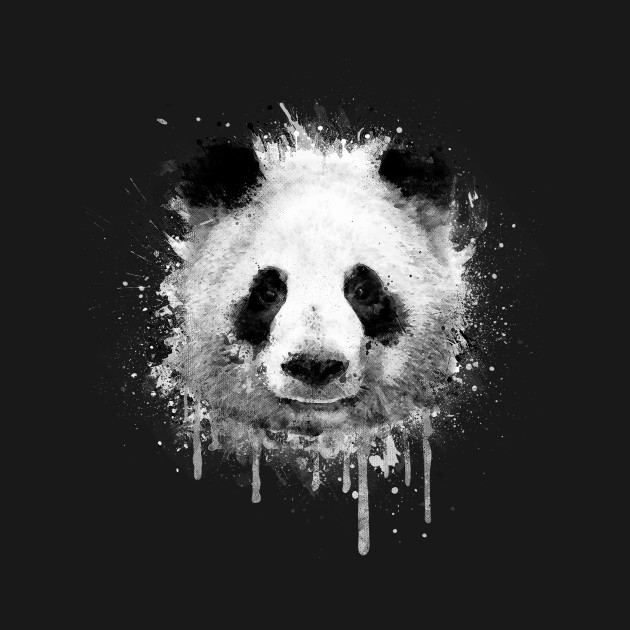 Cool Abstract Panda Portrait in Black & White - Animal - T ...