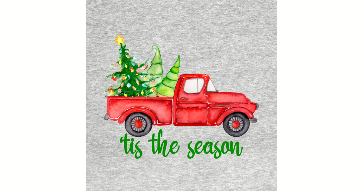 Old Red Truck With Christmas Tree In Back.Tis The Season Watercolor Retro Red Truck With Christmas Trees By Marinasarda