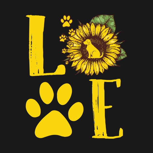 9ac3c0eeb17e Sunflower Love Dog Paw Print Gift for Dog Mom T-Shirt - Christmas ...