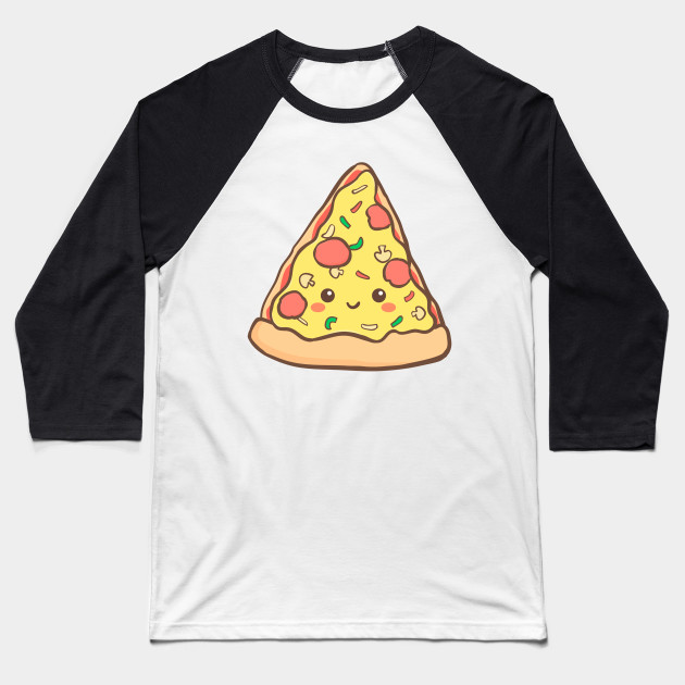 Pizza Cartoon Baseball T-Shirt