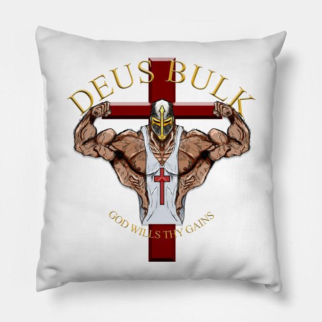 Deus Bulk God wills thy Gains Gym Throw Pillow