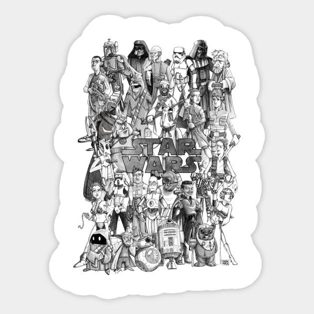 star wars characters star wars charactersdrawing sticker teepublic
