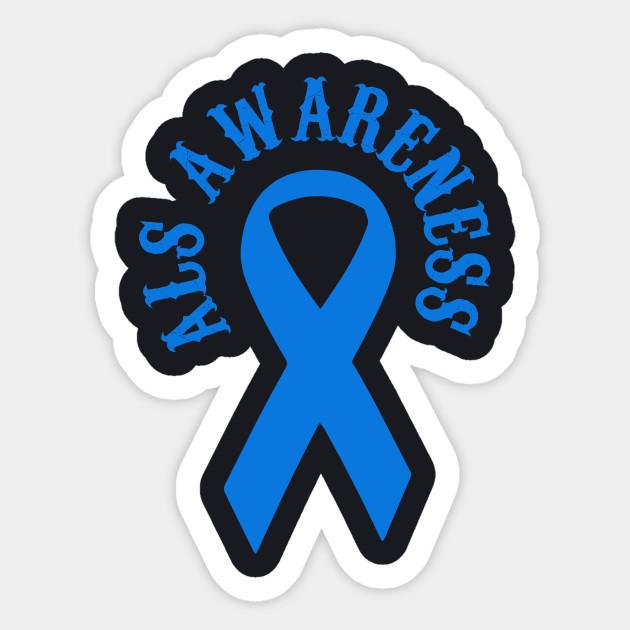 ALS Awareness Warrior Blue Ribbon