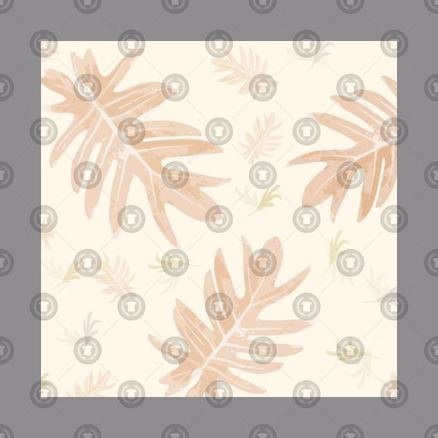 Autumn fall tan brown on cream tropical palm leaves