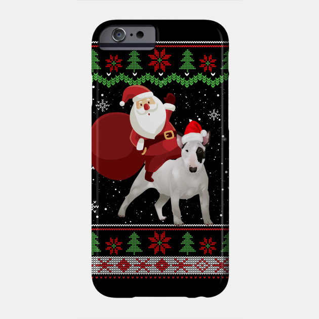 Santa Riding Bull Terrier Ugly Christmas Gifts Dog Christmas Phone Case