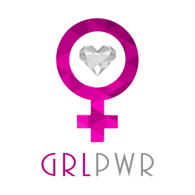 Womens Cute GRL PWR Girl Power Chic Designer Love Tee