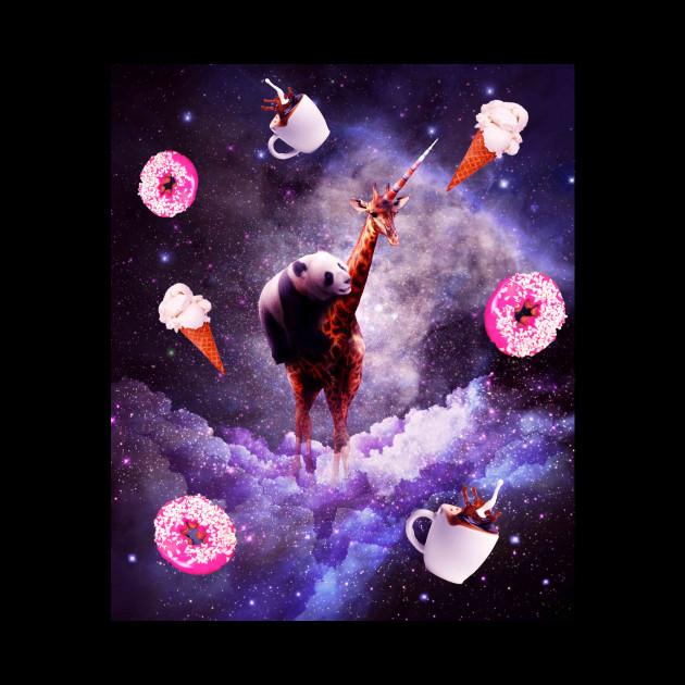Outer Space Panda Riding Giraffe Unicorn - Donut