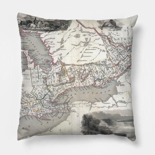 Map Of Canada In 1850.Vintage Map Of Ontario Canada 1850 Ontario Map Pillow Teepublic