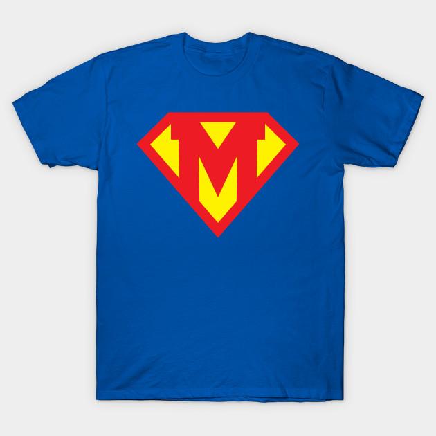 Letter M Superhero Symbol Superhero T Shirt Teepublic
