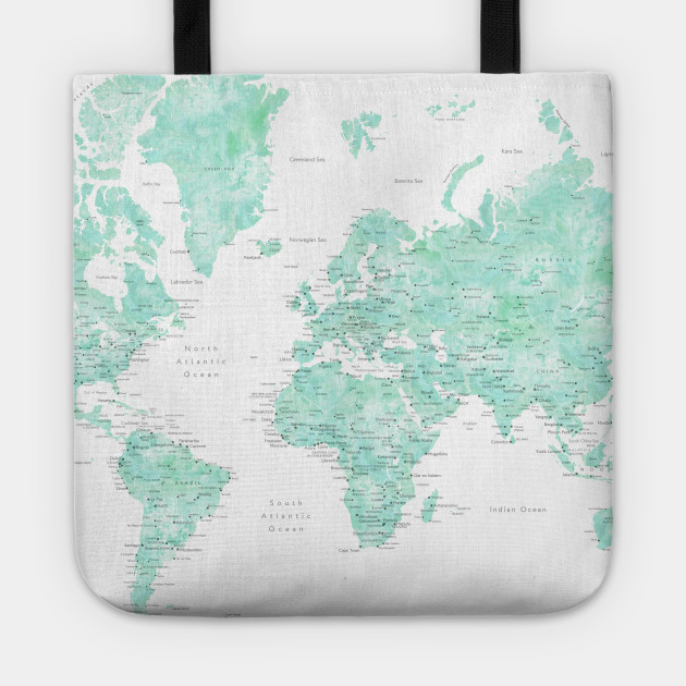 Mint Watercolor World Map Detailed Desie World Map Tote