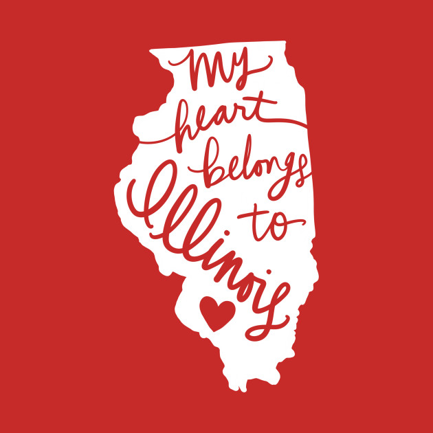 My Heart Belongs To Illinois State Pride Calligraphy