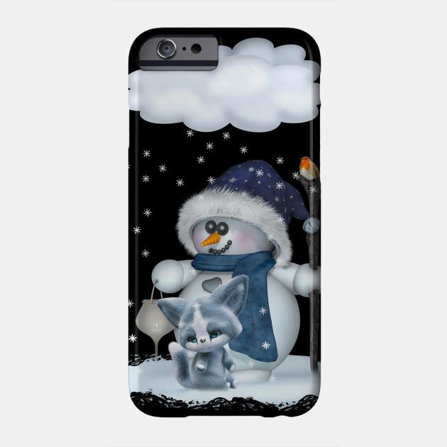 Little Snowman in blue Phone Case