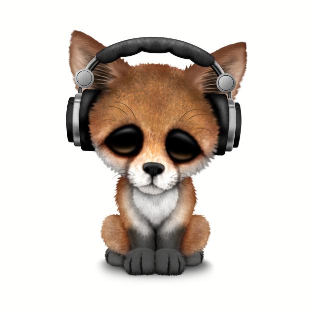 Cute Red Fox Cub Dj Wearing Headphones