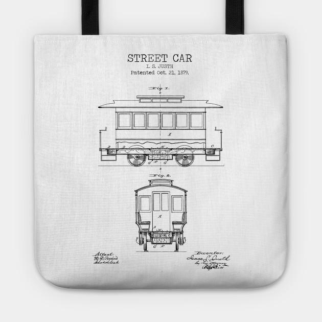 STREET CAR poster, street car patent print, street car blueprint, tram  print, trolley printable, railway decor, transportation decor,