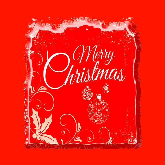 MERRY CHRISTMAS ON RED BACKGROUND.
