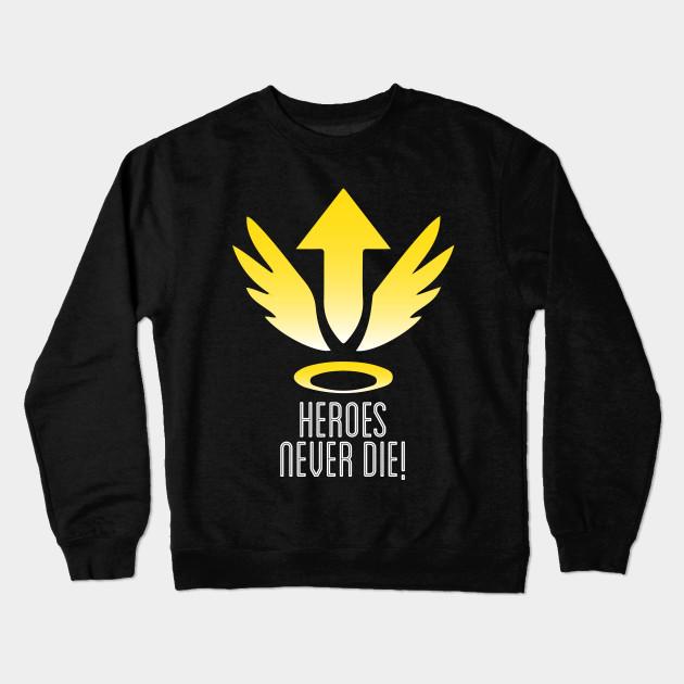 0b2c8cfc1 Mercy Heroes Never Die Logo Overwatch - Overwatch - Crewneck ...
