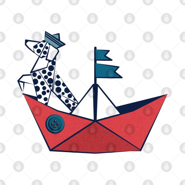 Origami Dalmatian dog day at the lake // print // red sail boat