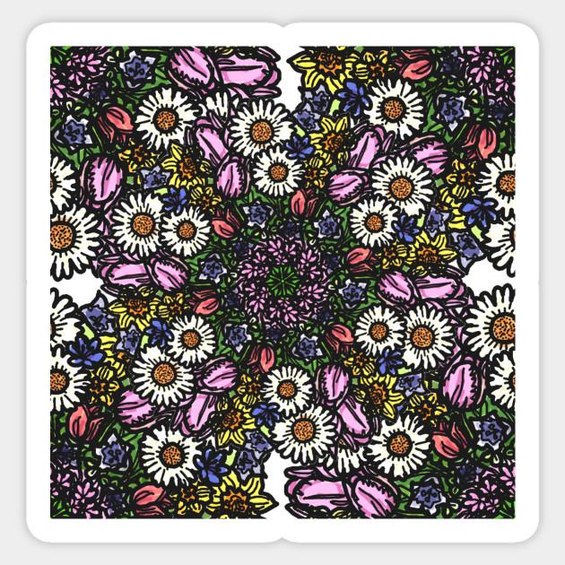 Mandala Bouquet - Flower - Sticker   TeePublic