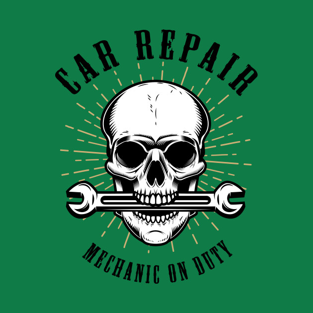 Car-repair-human-skull-with-wrench-mouth-elements-poster ...