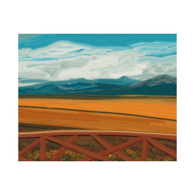 Farm field landscape illustration