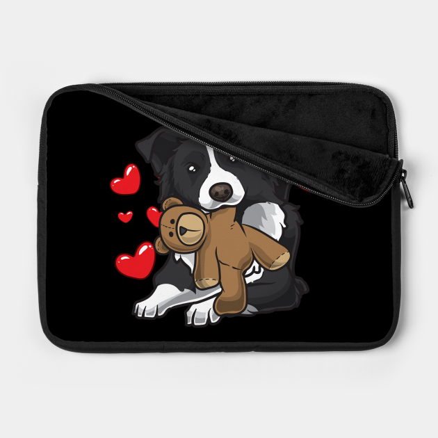 border collie dog with stuffed animal and hearts