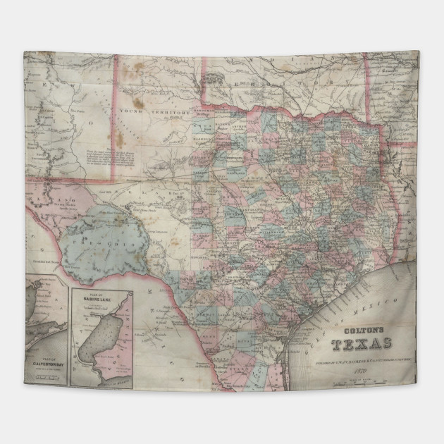 1870 Map Of Texas.Vintage Map Of Texas 1870 Texas Map Tapestry Teepublic