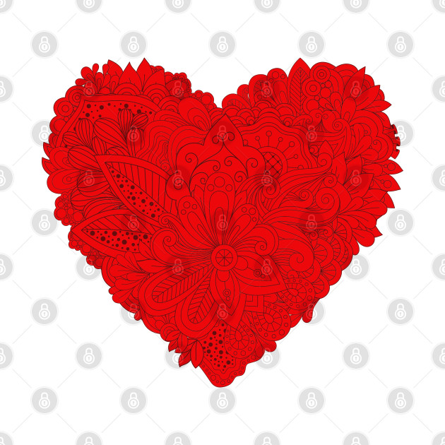 Red Heart Valentine's Day Flowers Vintage Floral Love