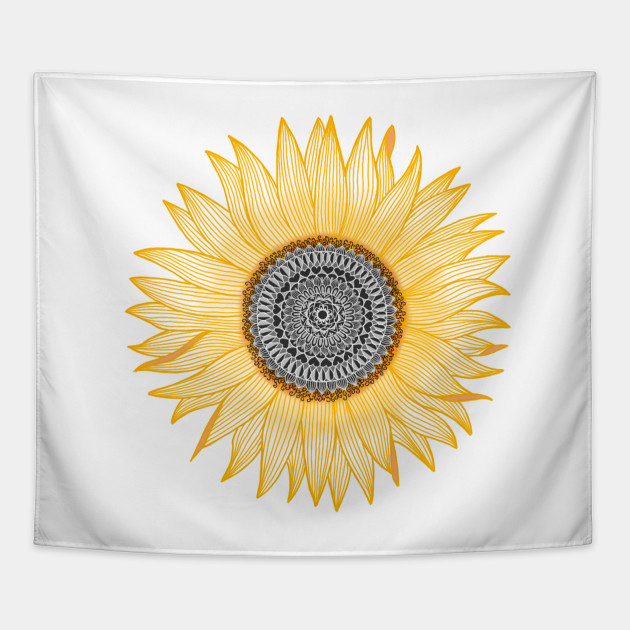 Golden Sunflower Mandala Sunflower Tapestry Teepublic