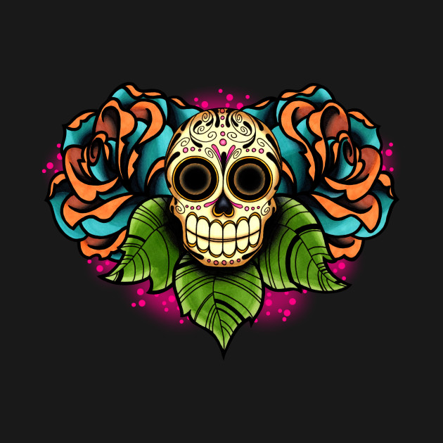 Sugar Skull and Roses - Dia de los Muertos Calavera - Day ...