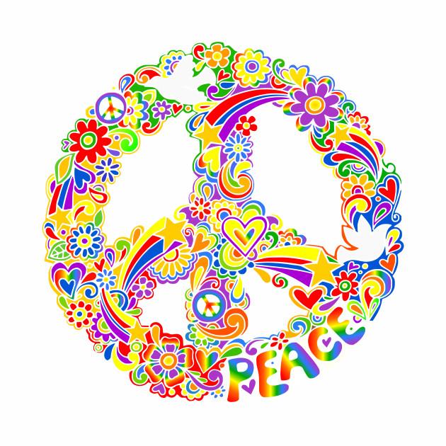 Rainbow Colors Peace Symbol Hippie Baseball T Shirt Teepublic