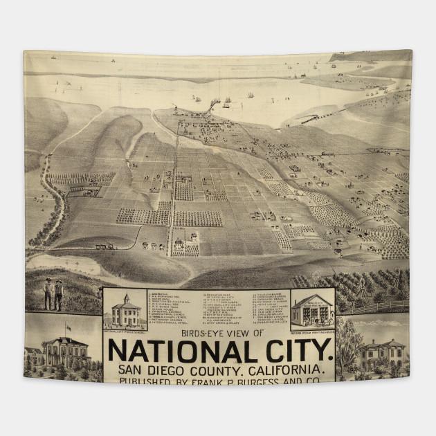 Vintage San Diego Map.Vintage Pictorial Map Of San Deigo Ca 1887 San Diego Map