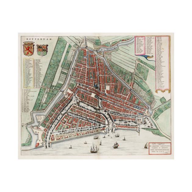 Vintage Map of Rotterdam Netherlands (1649) 2 - Rotterdam Map - T ...