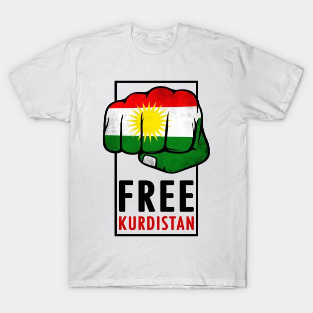 KURDISTAN T-Shirt Femmes-Texte et drapeau pression-Kurdistane Girly shirt Kurdes