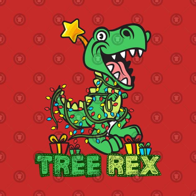 Dinosaur Christmas.Tree Rex Christmas Dinosaur Design By Jaygo