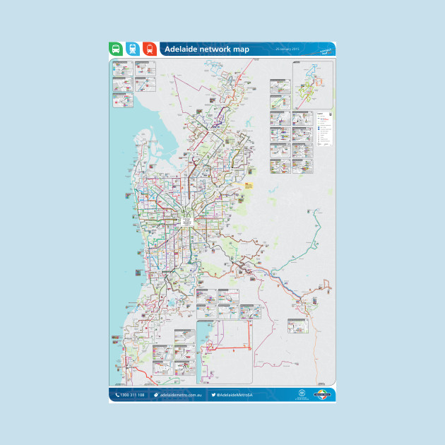 Adelaide - Australia - Bus - Rail - Tram Map - HD - Adelaide - Mug ...