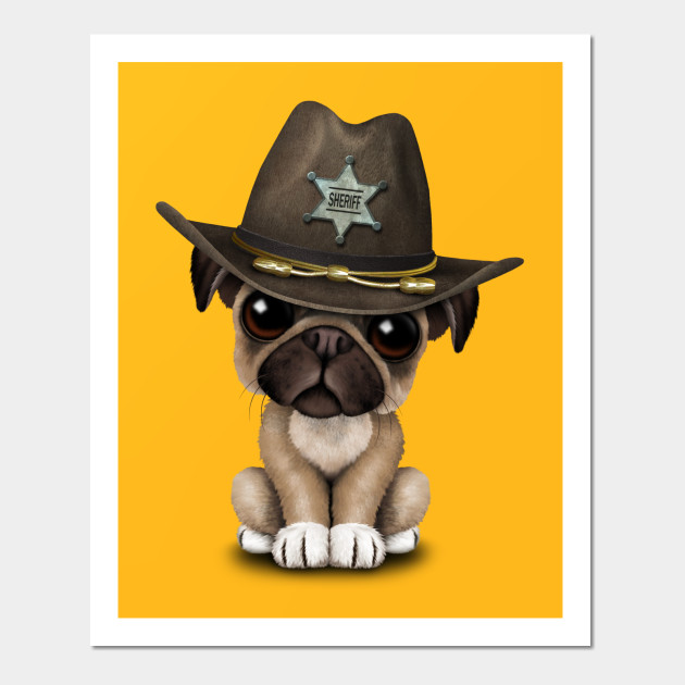 Cute Pug Puppy Dog Sheriff - Pug - Posters and Art Prints  819df4e1d7b