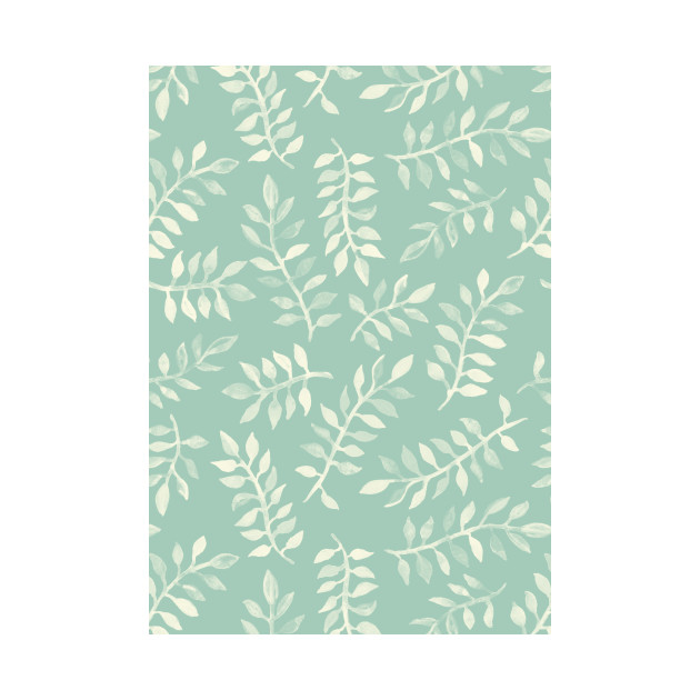 Painted Leaves - a pattern in cream on soft mint green