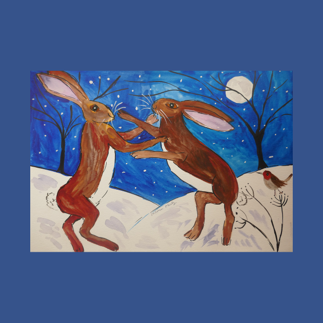 Hares Boxing and a Sweet little Robin