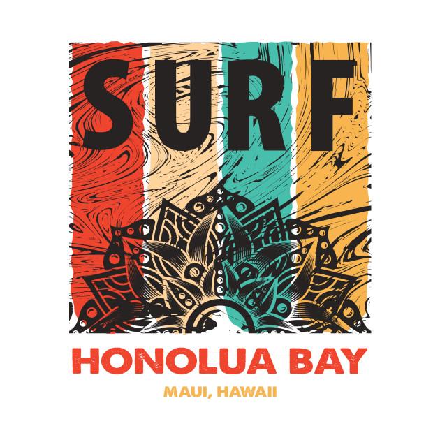 HONOLUA BAY Retro Surf T Shirt Vintage Mandala Gift