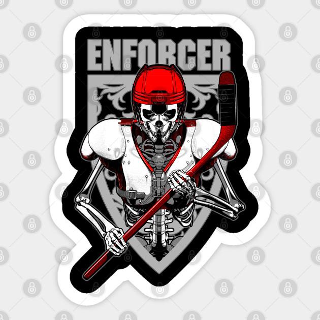Enforcer Ice Hockey Player Cartoon Sports Skeleton Ice Hockey Sticker Teepublic