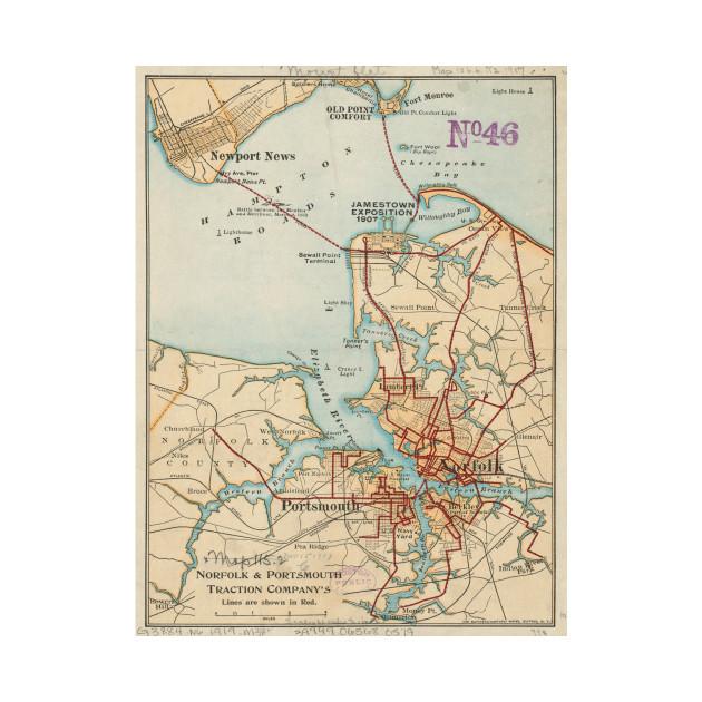 Vintage Map of Norfolk and Portsmouth VA 1919 Norfolk Map T