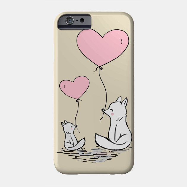 Fox Love Heart Balloon Mother And Mom Phone Case