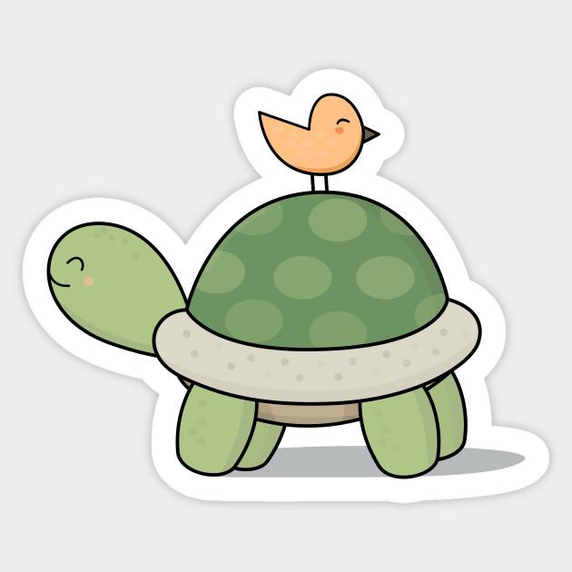 Kawaii Cute Tortoise And Bird Cute Turtle Naklejka Teepublic Pl