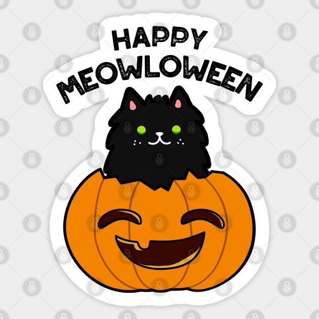 Meowloween Cute Halloween Cat Pumpkin Pun Halloween Pun Aufkleber Teepublic De